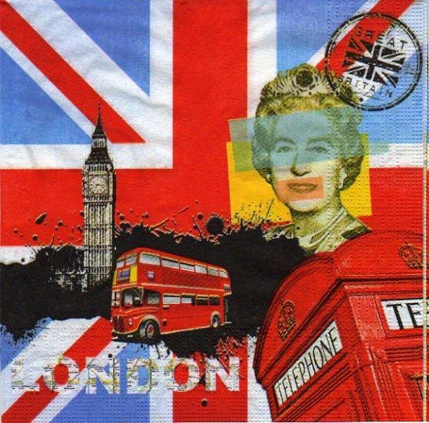 Serviette papier Londres et la reine  33 cm X 33 cm 3 plis