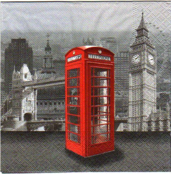 Serviette papier Londres et téléphone  33 cm X 33 cm 3 plis