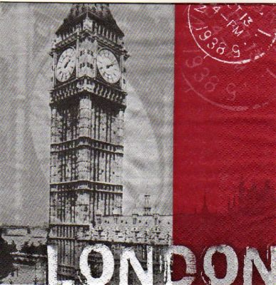 Serviette papier Londres et Big Ben  33 cm X 33 cm 3 plis