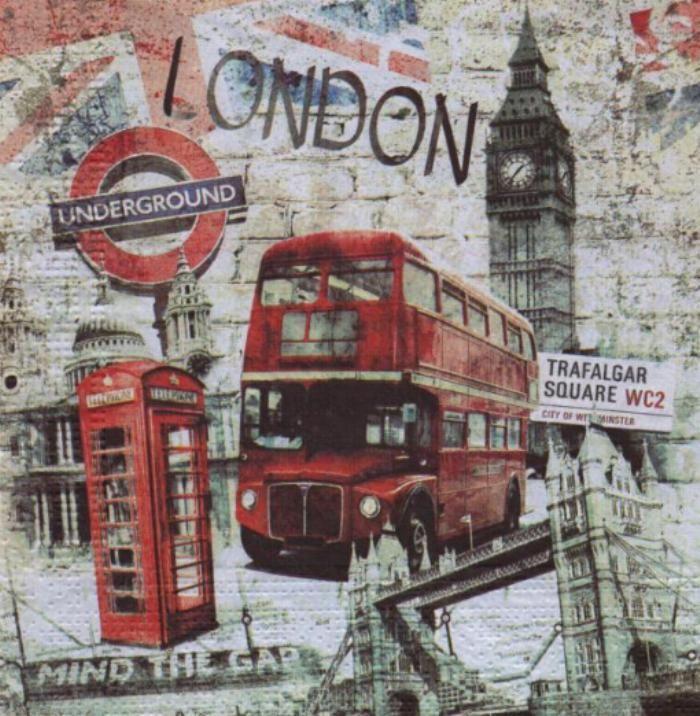 Serviette papier Londres et et Big Ben  33 cm X 33 cm 3 plis
