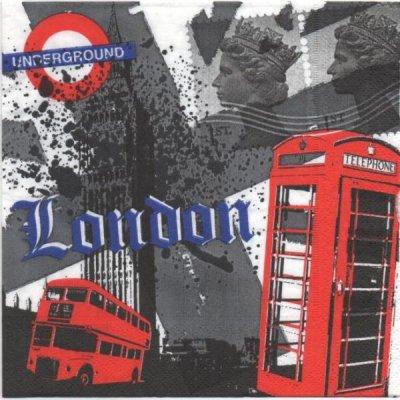 Serviette papier Londres et bus  33 cm X 33 cm 3 plis