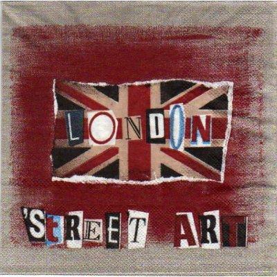 Serviette papier Londres et drapeau  33 cm X 33 cm 3 plis