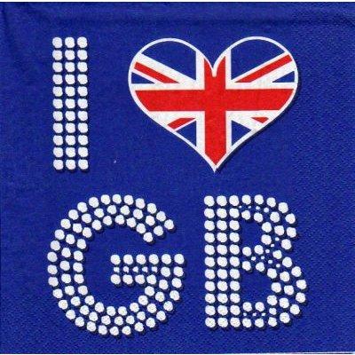 Serviette papier I Love GB 33 cm X 33 cm 3 plis