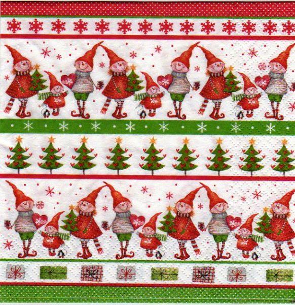 Serviette papier Lutin de Noël 33 cm X 33 cm 3 plis