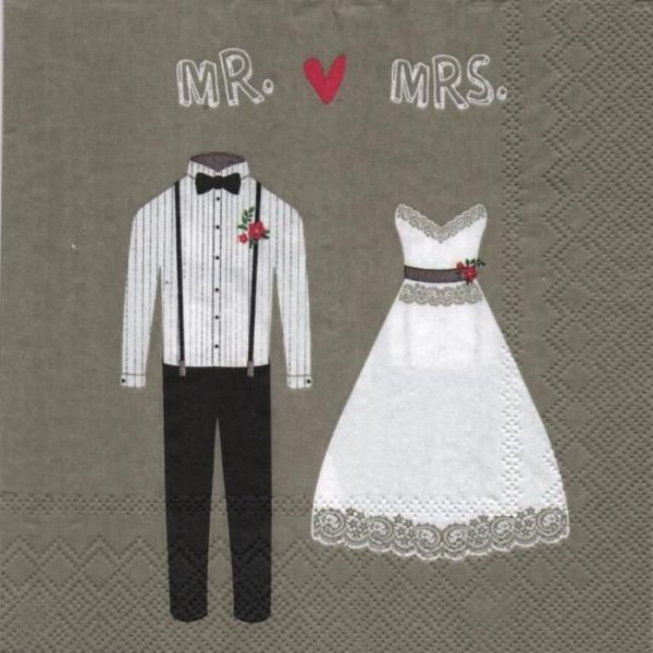 Serviette papier Madame et Monsieur 33 cm X 33 cm 3 plis