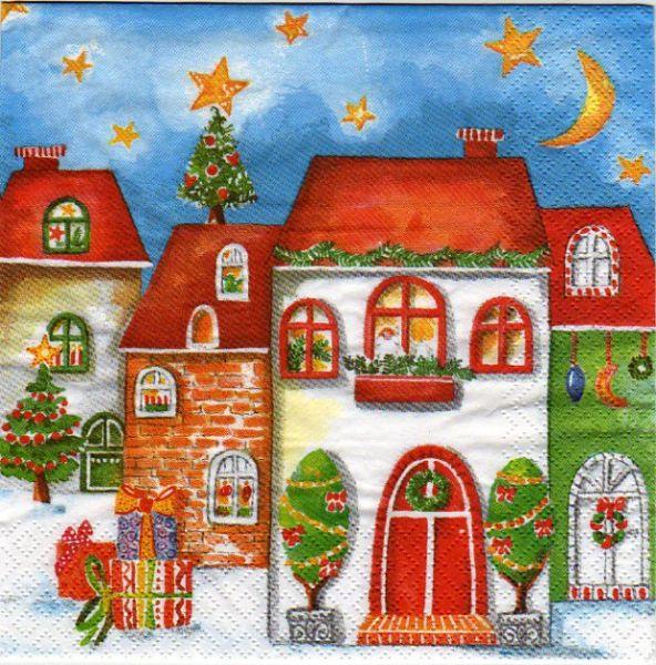 No l serviette papier maison de no l 33 cm x 33 cm 3 plis - Fournitures loisirs creatifs ...