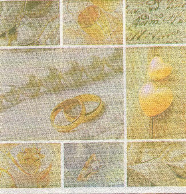 Serviette papier mariage 2 alliances et coeur 33 cm x 33 cm