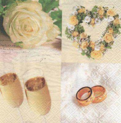 Serviette papier mariage fleurs et alliances 33 cm x 33 cm