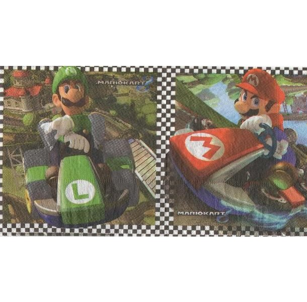 Serviette papier Mariokart de 33 cm X 33 cm 2 plis