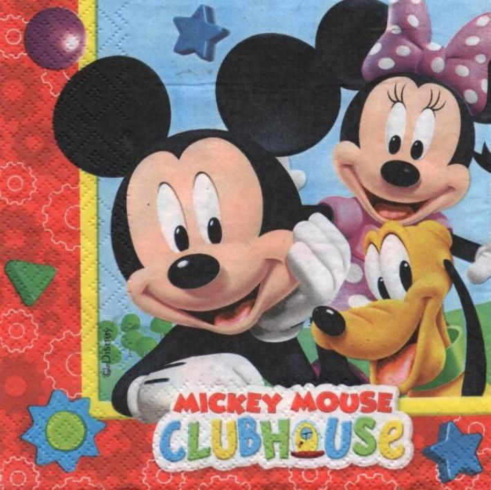 Serviette papier MicKey Club-House 33 cm X 33 cm 3 plis