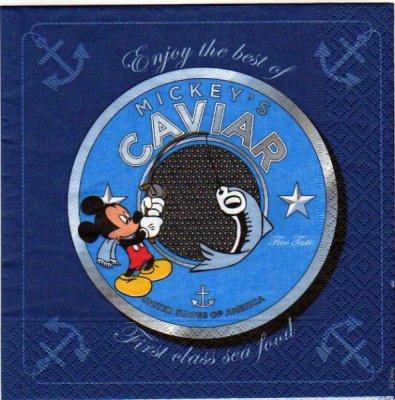 Serviette papier Mickey à la pêche  33 cm X 33 cm 3 plis