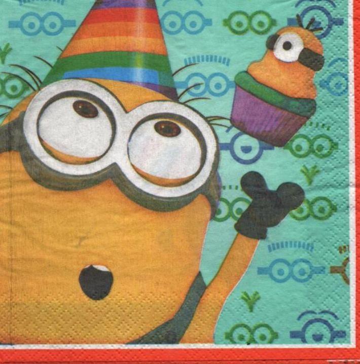 Serviette  papier Les Minions de 33 cm X 33 cm 2 plis