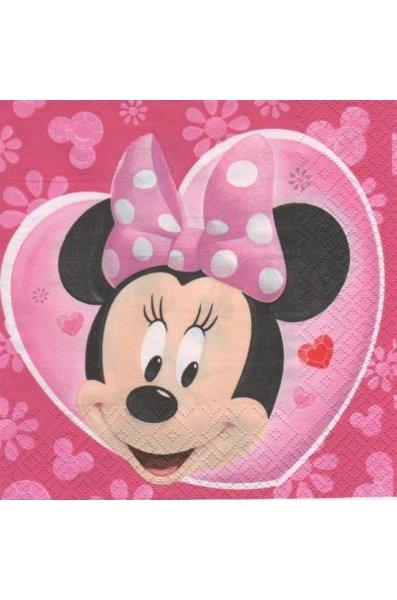 Serviette papier Minnie et coeur  33 cm X 33 cm