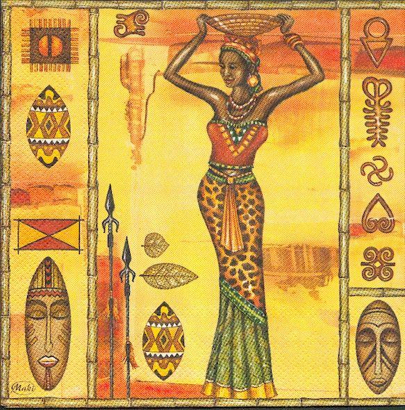 pays serviette papier motif afrique femmes 33 cm x 33 cm 3 plis. Black Bedroom Furniture Sets. Home Design Ideas