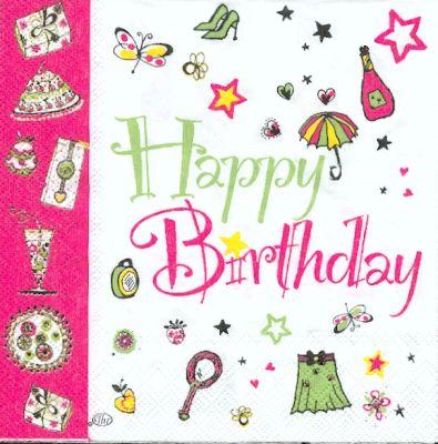 Serviette papier motif anniversaire gâteaux et cadeaux