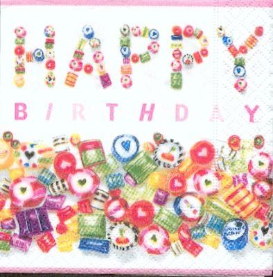 Serviette papier motif anniversaire cocktail