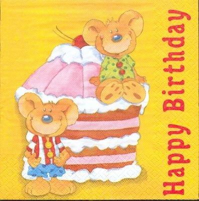Serviette papier motif anniversaire et gâteau à la crème
