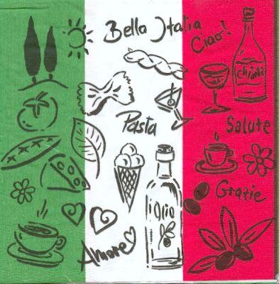 Pays serviette papier motif bella italie 33 cm x 33 cm 3 plis - Serviette en papier motif ...