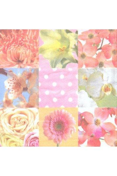 Serviette papier motif bouquets fleurs 33 cm X 33 cm 3 plis