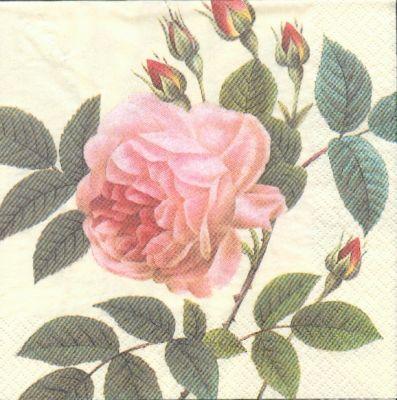 Fleurs serviette papier motif bouton de rose 33cm x 33 cm - Fourniture loisirs creatifs ...