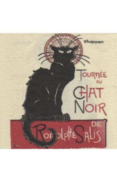Serviette papier Café Chat Noir  33 cm X 33 cm 3 plis