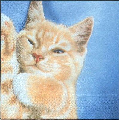 Serviette papier motif chat qui dort 33 cm X 33 cm 3 plis
