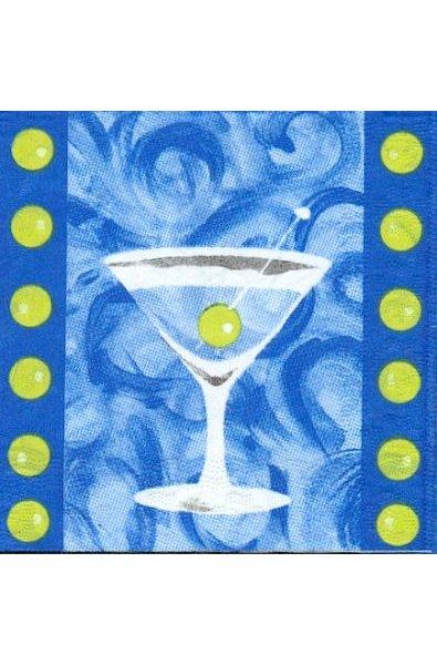 Serviette papier motif cocktail menthe 25 cm X 25 cm 3 plis