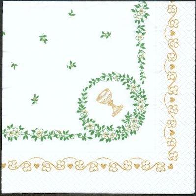 Serviette papier motif communion + lierre