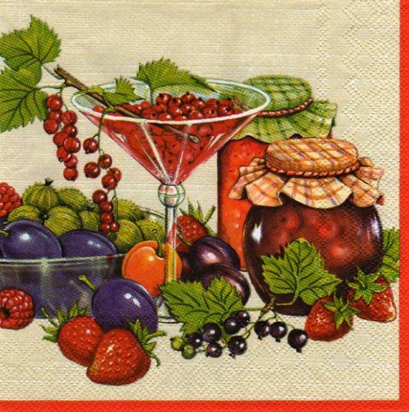 Serviette papier motif confiture fruits 33 cm X 33 cm 3 plis