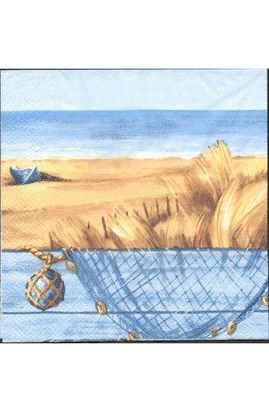 Serviette papier motif filet de pécheur 33 cm X 33 cm 3 plis