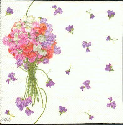 Serviette papier motif fleurs de 33 cm X 33 cm 3 plis
