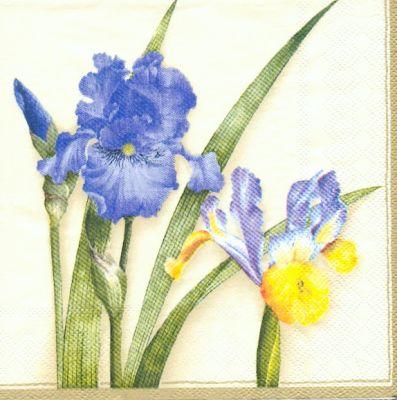 Serviette papier motif fleurs bleu de 33 cm X 33 cm 3 plis