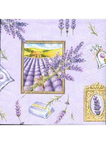 Serviette papier motif fleurs lavandes 25 cm X 25 cm 3 plis