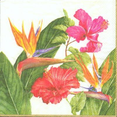 Fleurs exotiques peinture - Serviette en papier motif ...