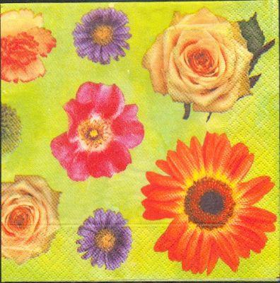 Fleurs serviette papier motif fleurs divers 33 cm x 33 cm - Fournitures loisirs creatifs ...