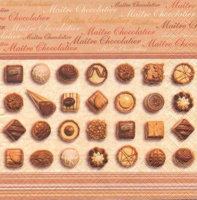 Serviette papier motif gourmandise de 33 cm X 33 cm 3 plis