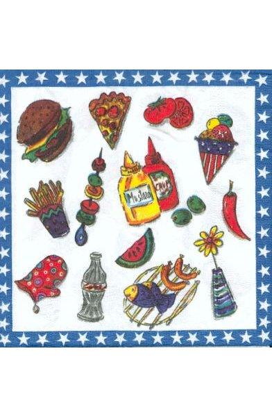 Serviette papier motif Hot dog de 33 cm X 33 cm 3 plis