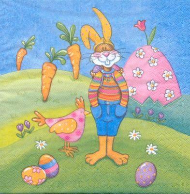 Serviette papier motif grand lapin de Paques