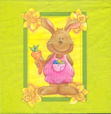 P ques serviette papier motif lapin de p ques joyeux - Fourniture loisirs creatifs ...