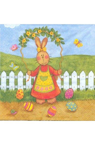 Serviette papier motif lapins de Paques et gurilandes