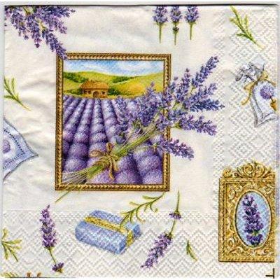 Serviette papier motif lavande 25 cm X 25 cm 3 plis