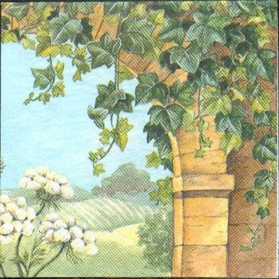 Fleurs serviette papier motif lierre sur un mur 33cm x 33 for Motif sur mur