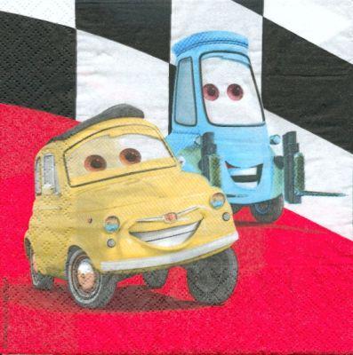 Serviette papier motif Car et Luigi de 33 cm X 33 cm 2 plis