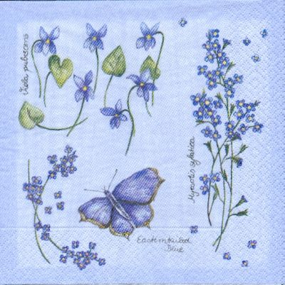 Serviette papier motif lys et papillon  33 cm X 33 cm 3 plis