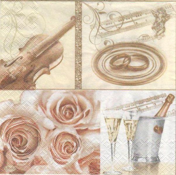 Serviette papier motif mariage + alliance et musique