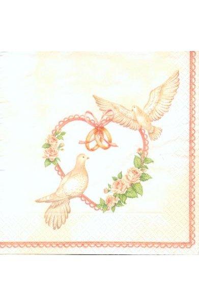 Serviette papier motif mariage + 2 colombes