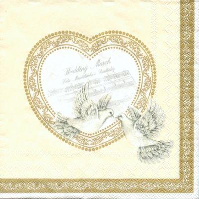 Serviette papier motif mariage + 2colombes