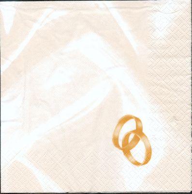 Serviette papier motif mariage +  alliances
