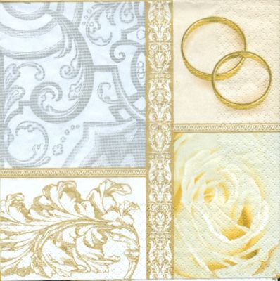 Serviette papier motif mariage + 2 alliances et roses