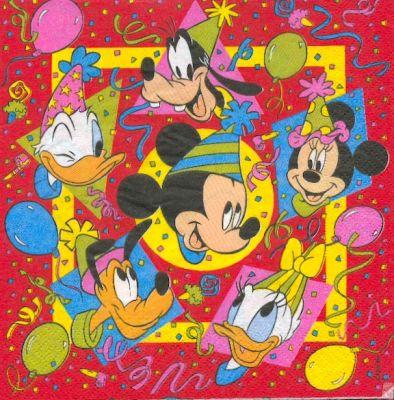 Serviette papier motif Mickey  de 33 cm X 33 cm 3 plis